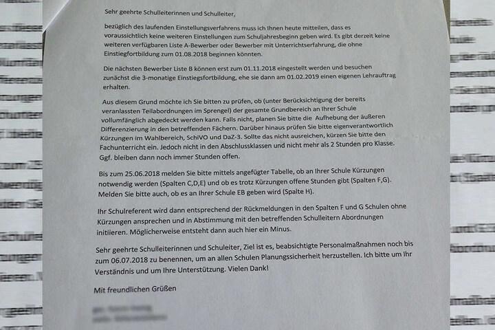 Ein versehentlich verschickter Brandbrief vom Landesamt für Schule und Bildung forderte die Oberschulleiter auf, sich auf Kürzungen des Unterrichts einzustellen.
