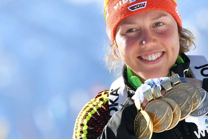 Insgesamt errang Laura Dahlmeier bei Großereignissen 18 Mal Edelmetall für den DSV.