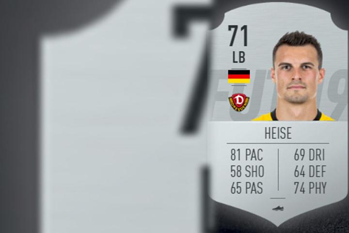 """Das ist die Spielerkarte von Philip Heise aus dem Video-Spiel """"Fifa 19""""."""