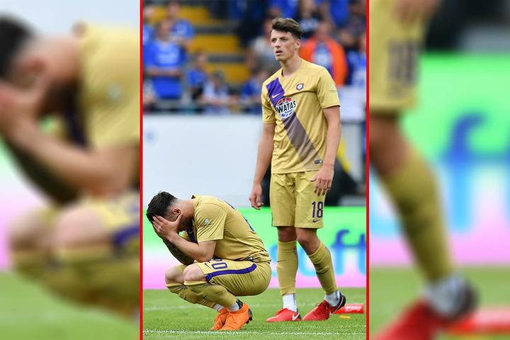 Die Hände vorm Gesicht, die Enttäuschung riesig - Dimitrij Nazarov (v.) und Calogero Rizzuto können die Niederlage nicht verstehen.