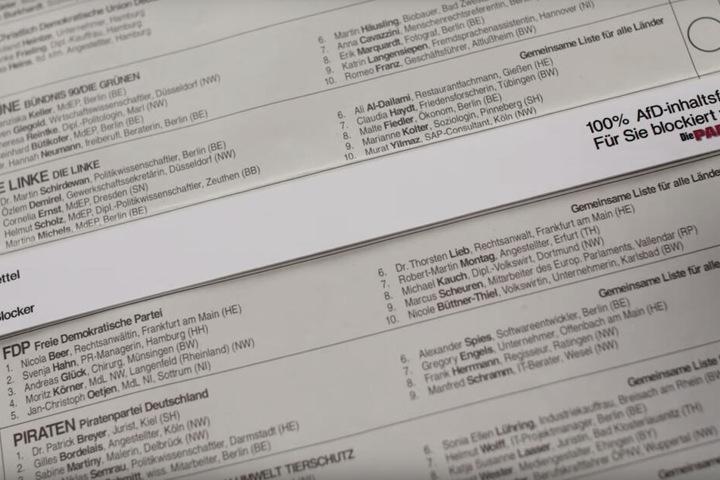 """Für alle Fans der Partei """"Die Partei"""", die eher offline-orientiert sind: Der AfD-Blocker für den Wahlzettel zur Europawahl."""