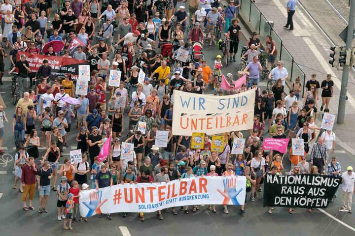 Das Foto zeigt die Demo am heutigen Samstag.