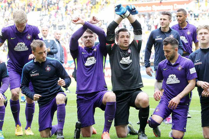 Aue feierte dieses Jahr schon zweimal im DDV-Stadion, den 3:0-Sieg im Landespokal und das 1:1 in der Meisterschaft.