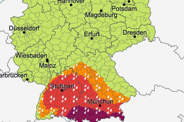 Im Süden Deutschlands wurde die höchste Unwetter-Warnstufe ausgerufen.