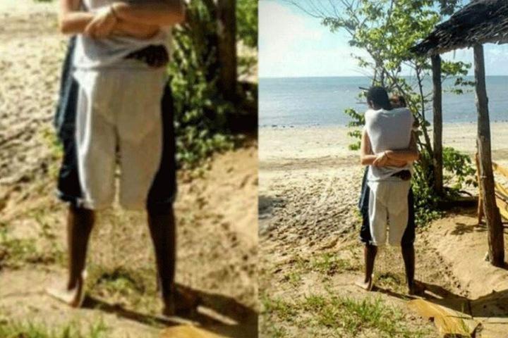 Der User BustyJan retuschierte die Beine der Frau einfach weg: Und siehe da. Plötzlich sieht die Hose des Mannes weiß-grün aus.