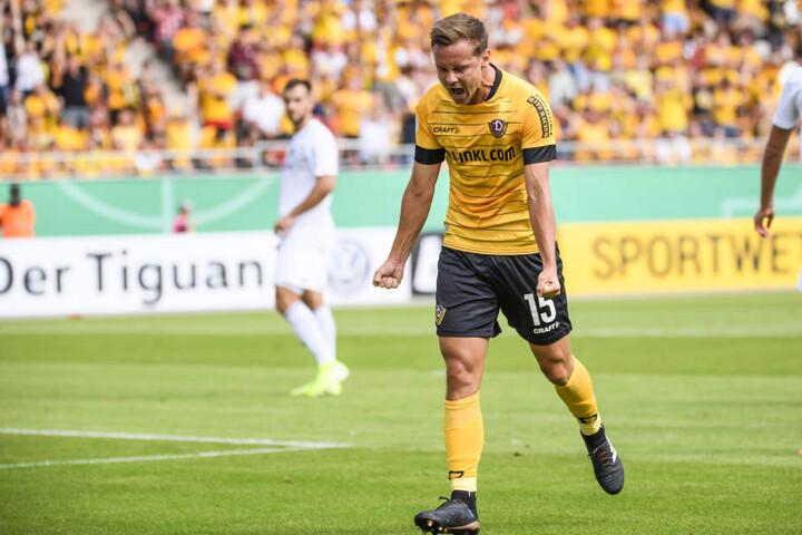 Schreit seine ganze Freude über den Treffer heraus: Dynamos Chris Löwe.