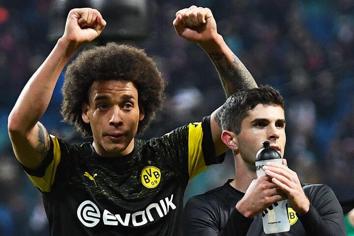 Axel Witsel (l.) erzielte für den BVB das goldene Tor bei RB Leipzig. Damit hat Borussia Dortmund weiterhin sechs Punkte Vorsprung vor dem FC Bayern München.