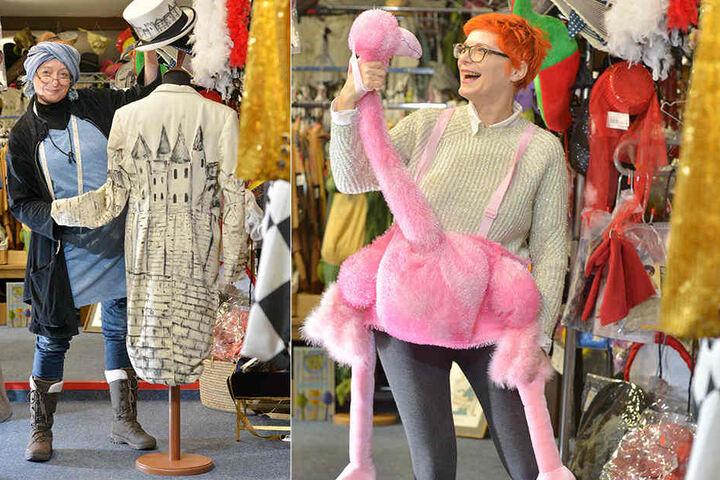 """Links: Andrea Wiener zeigt einen handbemalten Frack samt Zylinder. Rechts: a Wiener zeigt eines ihrer Schmuckstücke: Einen handbemalten Frack samt Zylinder. """"Hutball""""-Juror Ulf Neuhaus leiht ihn sich gern aus.Think Pink: Im Flamingo-Kostüm (Ausleihgebühr"""