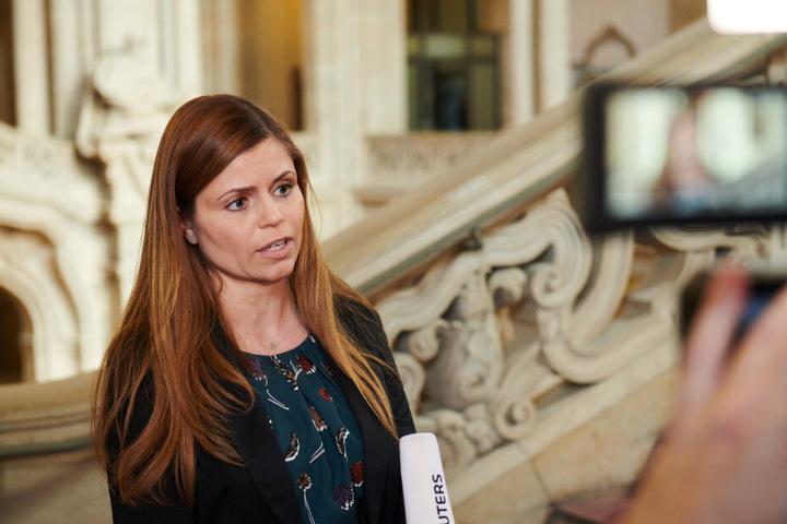 Mona Lorenz, Sprecherin der Staatsanwaltschaft, gibt ein kurzes Statement zu dem Fall Rebecca im Kriminalgericht Moabit.