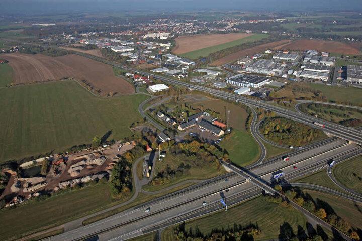 Das Gelände für die Unternehmensansiedlung bei Meerane aus der Luft: 60  Hektar stehen insgesamt zur Verfügung.