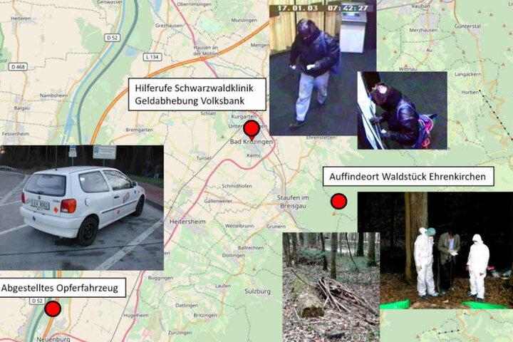 Die Grafik der Polizei zeigt die verschiedenen Tatorte im Fall der ermordeten Frau.