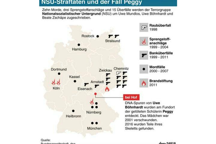 Karte zu Tatorten des NSU-Terrortrios und wichtiger Orte im Fall Peggy.