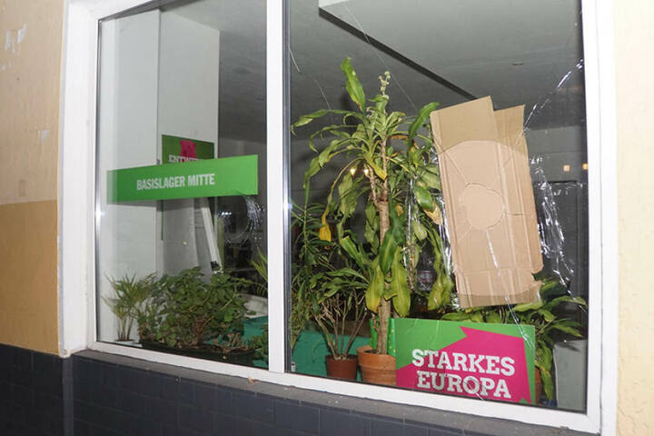 Eine der eingeworfenen Fensterscheiben des Grünen-Büros.