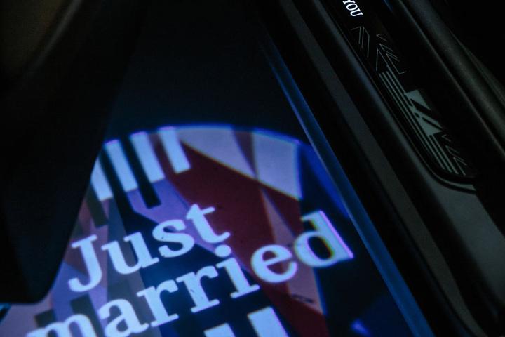 """""""Just married"""", eine Hommage an das Brautpaar."""