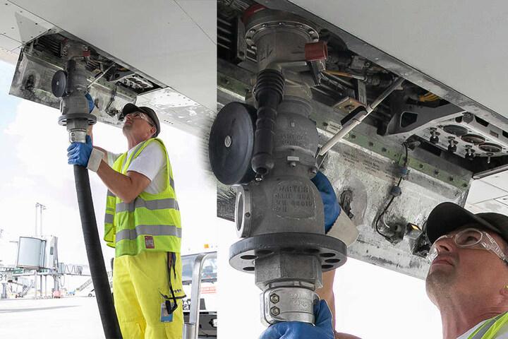 Einmal auftanken, bitte: Flugzeug-Tankwart Ralf Scheibler (44) fährt mit einem 30000-Liter-Tanker vor, setzt den Schlauch in den Stutzen unterhalb der Tragfläche an.