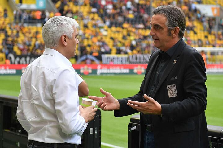 Club-Sportchef Andreas Bornemann (l.) und Dynamos  Sportdirektor  Ralf Minge werden wegen Stefan Kutschke miteinander  reden.