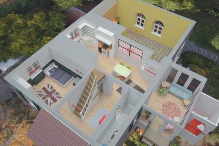 3D-Ansicht des idyllischen Hauses in Mettmann (Nordrhein-Westfalen).