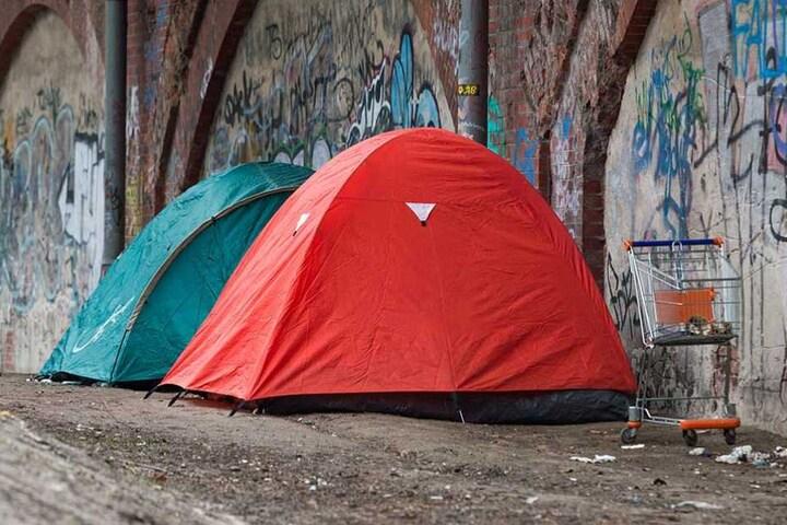 Zelte von Obdachlosen in Berlin.