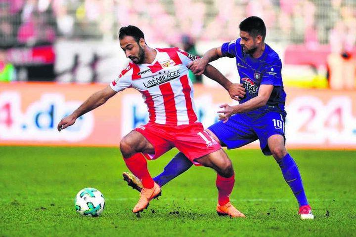 Akaki Gogia (l., gegen Aues Dimitrij Nazarov) konnte bei Union noch nicht so glänzen wie im Vorjahr in Dresden.