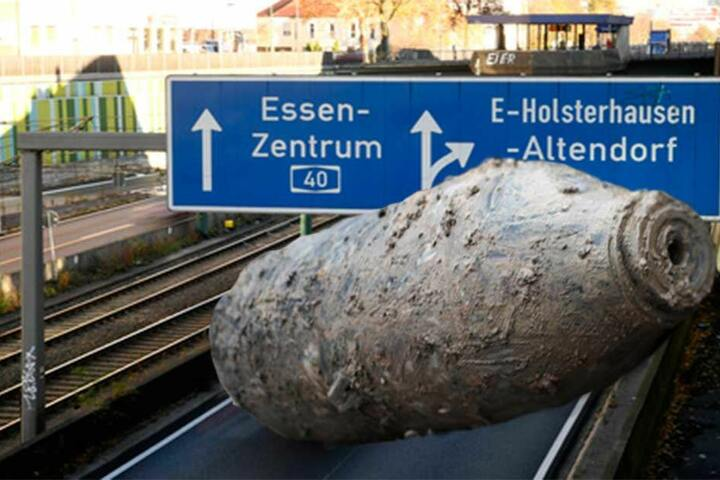 Fliegerbombe legt Autobahn lahm (Fotomontage).