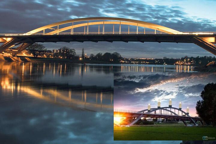 So in etwa könnte das Ganze am Ende aussehen (kl Bild re.): Student Georg Böhme (21) will der Waldschlösschenbrücke mit der Schwibbogen-Idee zu einem besseren Image verhelfen.