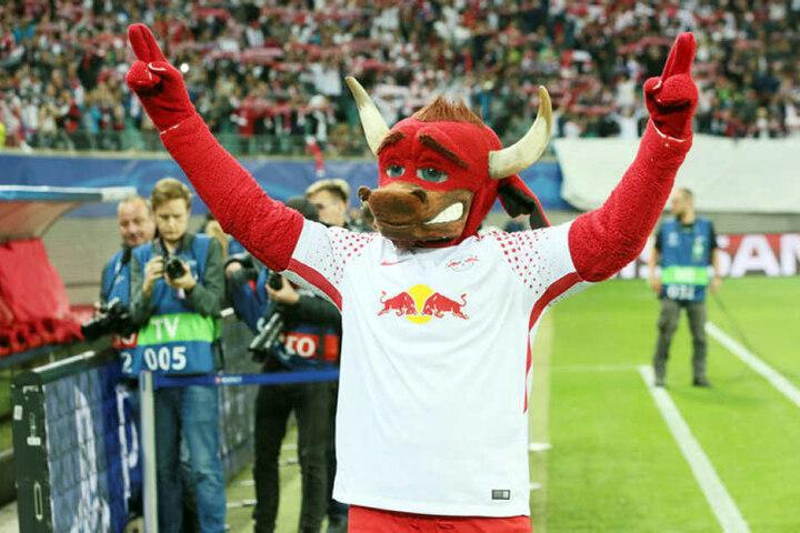 """Bisher ist die Stoff-Puppe """"Bulli"""" das Stadion-Maskottchen von RB. Sie könnte perspektivisch von einem echten roten Ochsen abgelöst werden."""