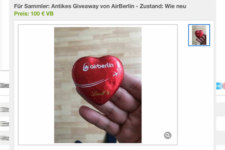 """Das """"antike Giveaway"""" der Fluggesellschaft wird als Sammlerstück bei ebay Kleinanzeigen angeboten, wahrscheinlich nur zum Spaß."""
