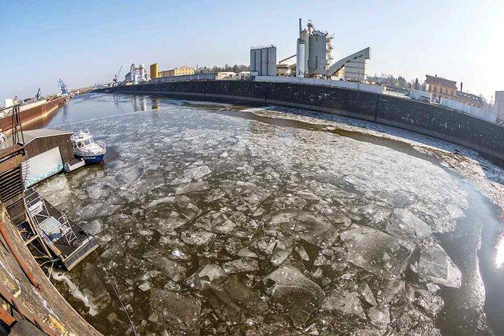 Die Eisschollen am Alberthafen stellen noch kein Problem dar.