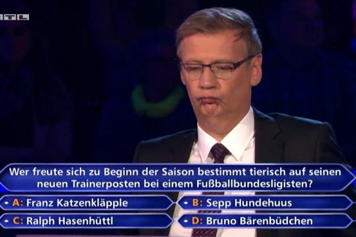 Die Reaktion von Günther Jauch auf die Antwort seines Kandidaten.