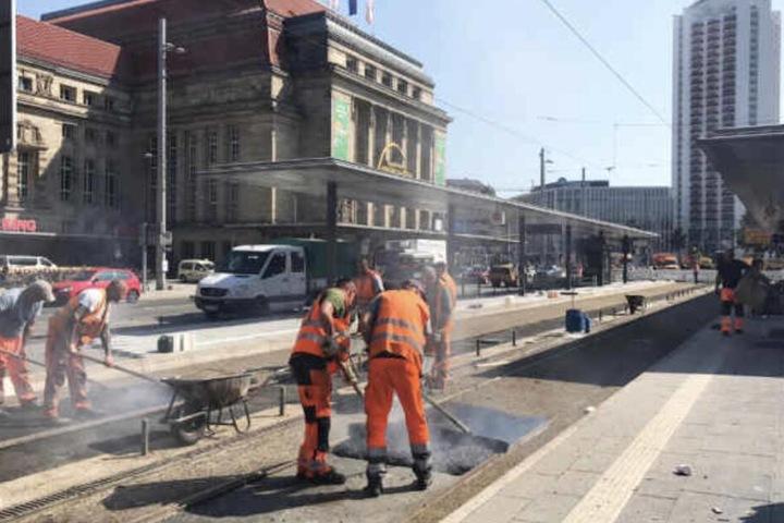 Seit Mitte August wird an der Tram-Haltestelle gearbeitet.