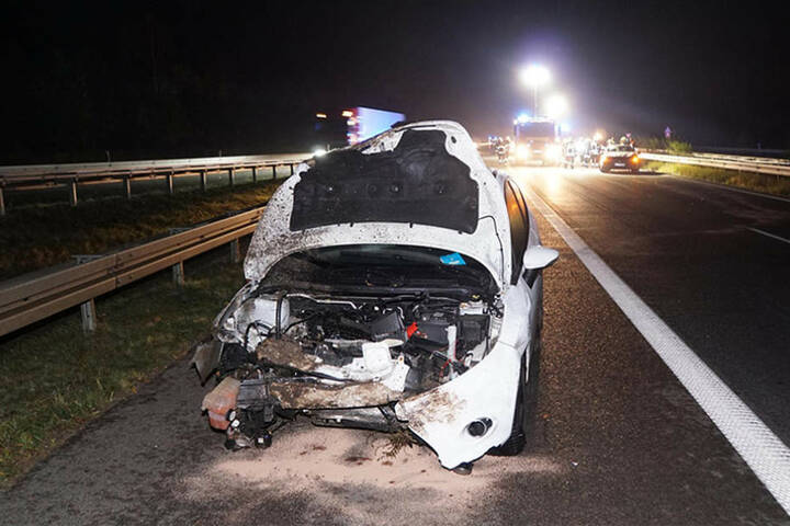 Der erste Unfallwagen ist ein Totalschaden. Die Fahrerin überstand den Crash mit dem Wildschwein mit leichten Blessuren.
