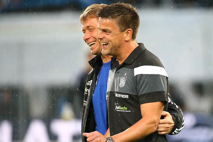 Hat FSV-Trainer Torsten Ziegner  (r., mit CFC-Coach Sven Köhler) am Wochenende mal wieder Grund zum Lachen?