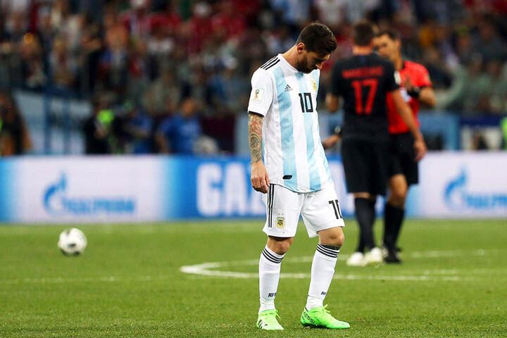 Lionel Messi steht mit der argentinischen Fußball-Nationalmannschaft vor dem WM-Aus.
