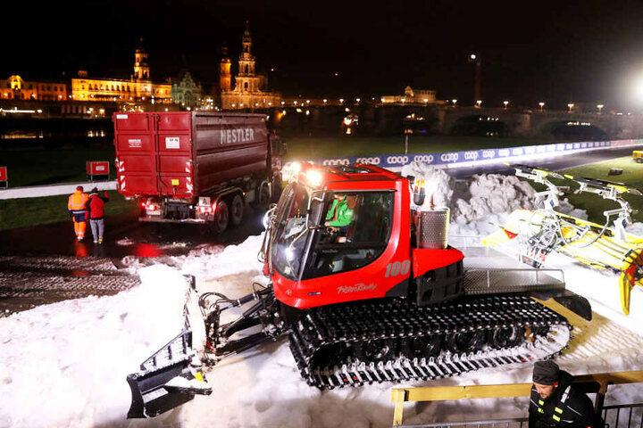 Der Schnee wurde noch in der Nacht an Ort und Stelle verteilt.