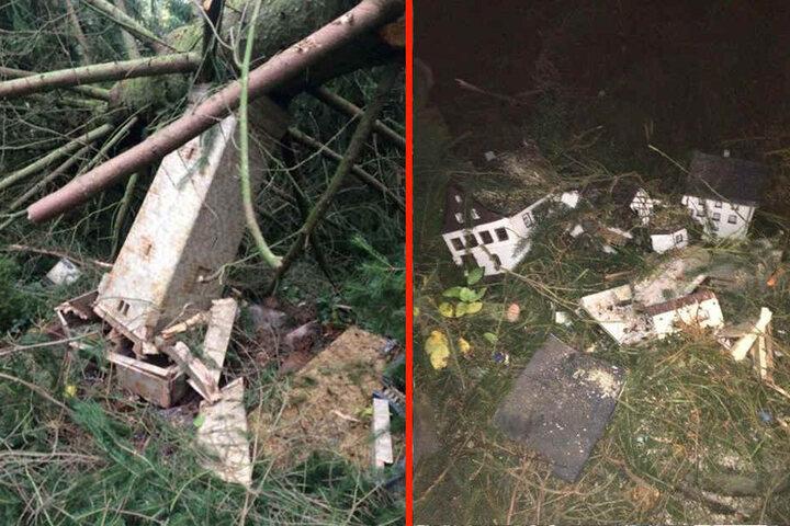 Einige Modelle im Klein Erzgebirge wurden zerstört.
