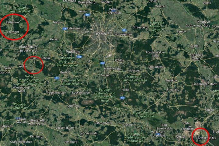 Durchsucht wurden Objekte in Rathenow, Premnitz und Golzow. Deutlich weiter südlich: Forst, der Fundort der Leichen.