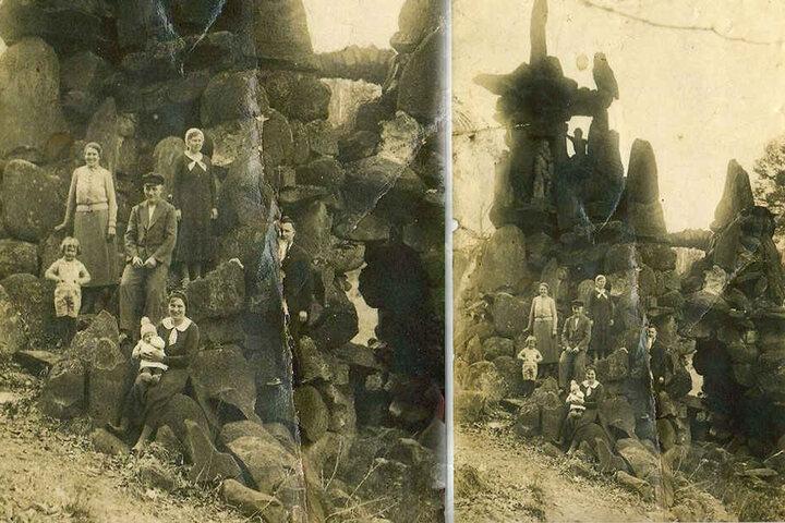Diese Aufnahme entstand um 1900, zeigt die Grotte vor dem Einsturz. Bislang rätselten Experten über die Figur im Gestein oben links.