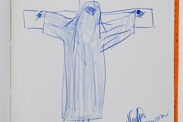 Die gekreuzigte Muslima stammt aus dem Skizzenbuch von Nadja Auermann (46).