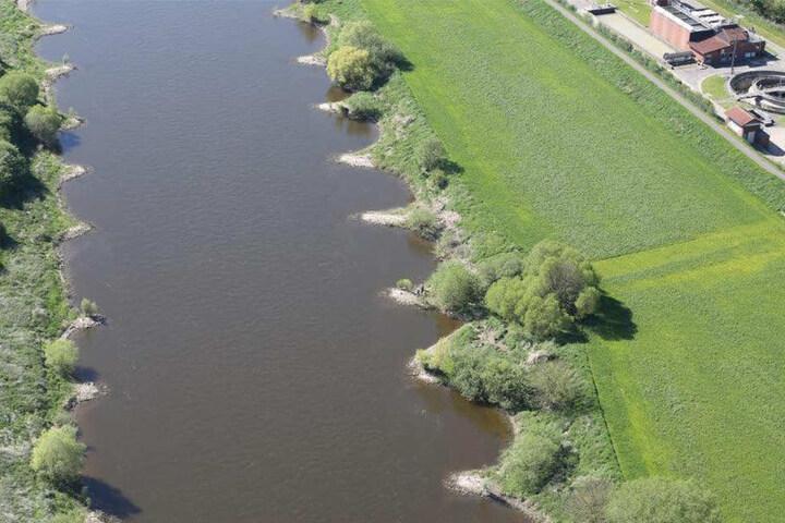 An diesem Stück der Weser wurden die Knochen der unbekannten Frau gefunden.