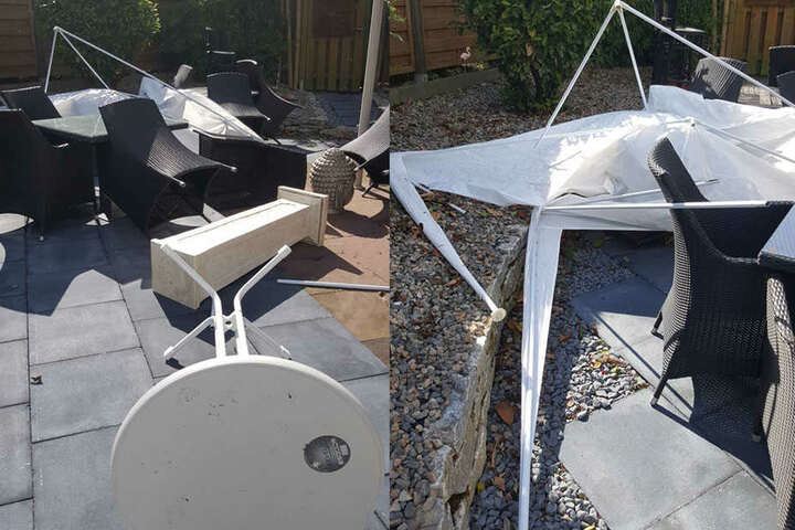 Gartenstühle und und anderes Gartenzubehör weht durch die Gegend.
