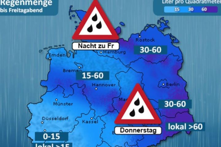 Der Schwerpunkt des Regengebietes (mit Wassermengen über 60 Litern je Quadratmeter) liegt in Ostsachsen.