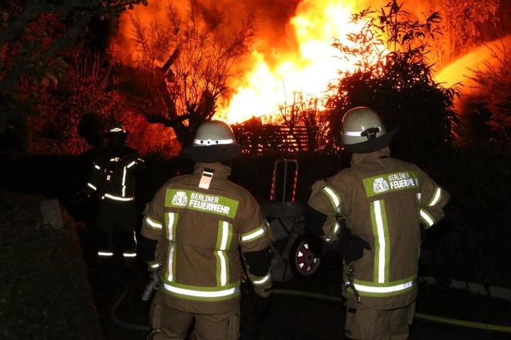 Trotz Einsatzes der Feuerwehr brannte die Gartenlaube völlig nieder.