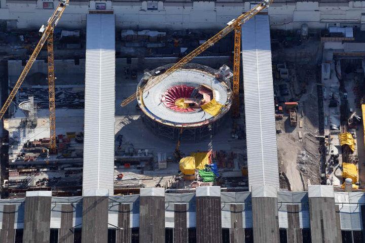 Die milliardenschwere S-21-Baustelle aus der Luft.