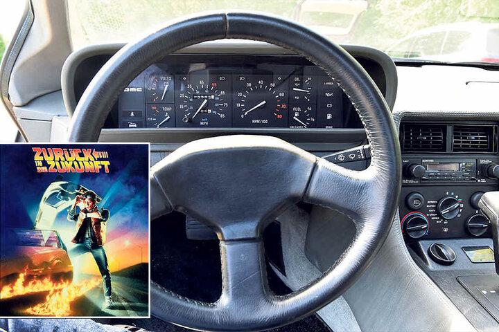 Die Tacho-Anzeige reicht nur bis 85 mph bzw. 140 km/h. Im Film musste der  DeLorean für einen Zeitsprung 88 mph (141,6 km/h) erreichen.