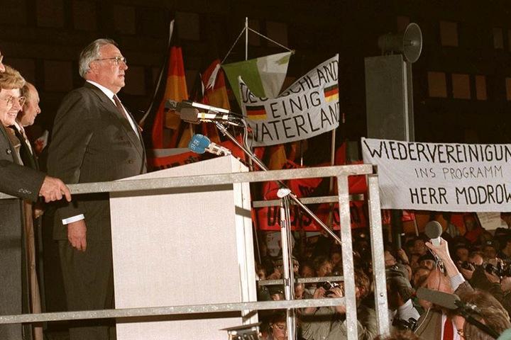 Helmut Kohl bei seiner berühmten Rede in Dresden.
