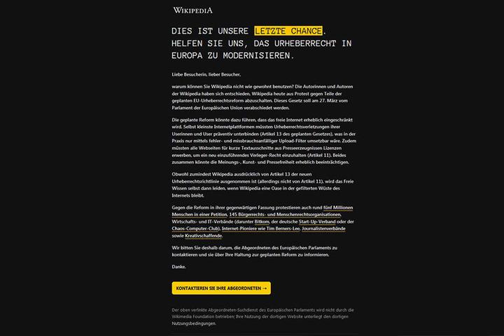 Protest gegen EU-Urheberrechtsreform: Für 24 Stunden sind die Einträge von Wikipedia nicht einsehbar.