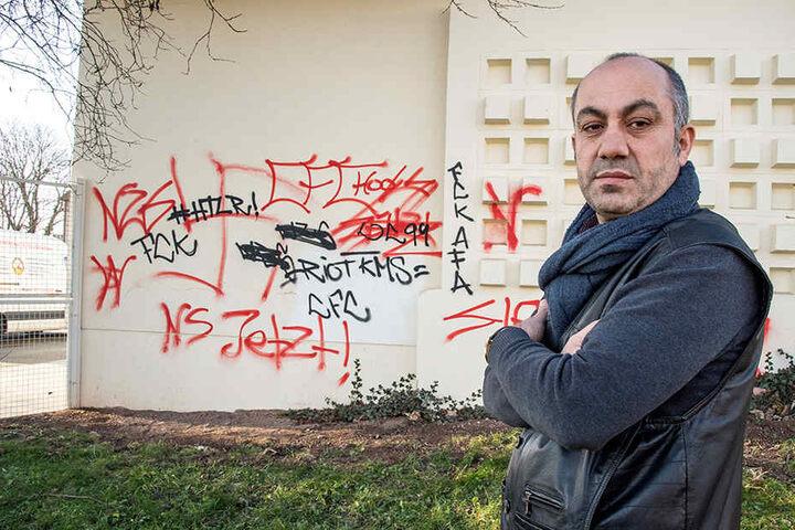 Graffiti-Sprayer verunstalteten die Firma von Bäcker Yavuz Kaya (52).