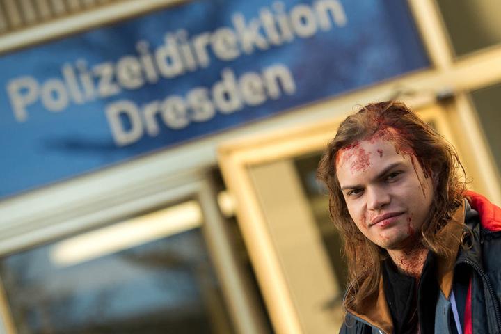 Wilson Gonzales Ochsenknecht bei Dreharbeiten zum Dresden-Tatort der am Sonntag, dem 11. Juni gesendet wird.