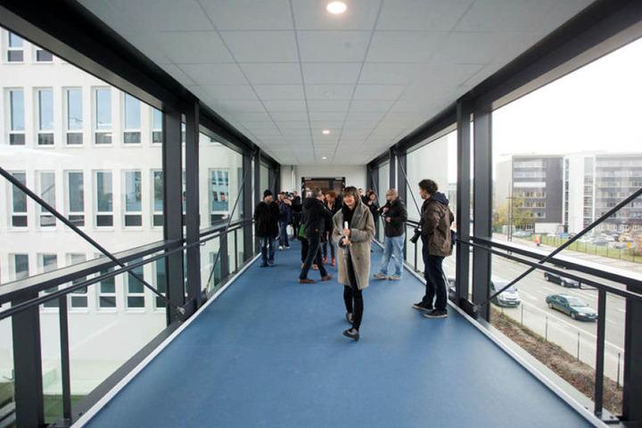 Das Neue Technische Rathaus lässt viel Licht ins Haus, etwa über diese gläserne Hängebrücke und 2.000 Fenster.