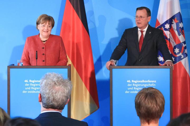 Merkel und Ramelow auf der abschließenden Pressekonferenz.